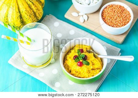 Delicious Homemade Pumpkin Porridge With Cranberry And Mint