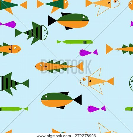 Seamless Sea Travel Icon Set, Underwater Diving Animal - Tropical Fish. Vector Illustration Abstract