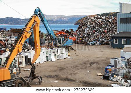 Hommelvik, Norway -  - October 18, 2016: Recycling Factory Of Hommelvik, Coastal Village In Norway