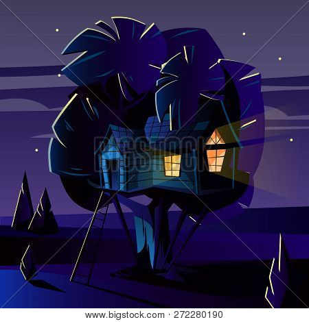 Cartoon Illustration Of Tree House At Dark Night, Evening. Cozy Building With Ladder On Wood Trunk W