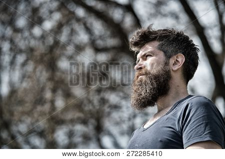 Bearded Hipster Brutal Macho. Barber Concept. Man Bearded Brutal With Mustache Serious Face Confiden