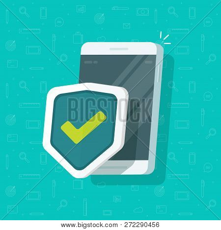 Mobile Phone Security Protection Vector Illustration Isolated, Flat Cartoon Smartphone Protected Wit