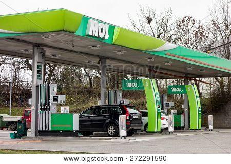 Ostrava, Czech Republic - November 27, 2018: The Green Petrol Station Of Mol Company In Ostrava - Po