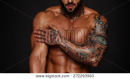 Bodybuilder With Muscle Torso. Banner Image Of Sexy Man With Muscular Body. Portrait Of Sexi Male Mo