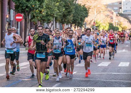 2018 Marathon Of Valencia. December 2, 2018. Spain Marathon At Mediterranean City Street