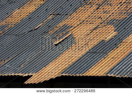 Corrugated Metal Roof Weathered Rusty And Textured