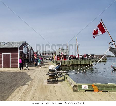 Halifax, Nova Scotia - September 22, 2015: The Halifax Harbour Walk Is A Boardwalk Open To The Publi