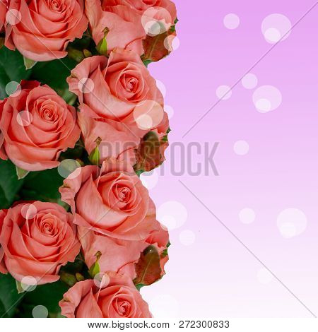 Wedding Bouquet Of Pink Flowers On A Light Background. Wedding Flowers In Nature. Candles. Wedding B