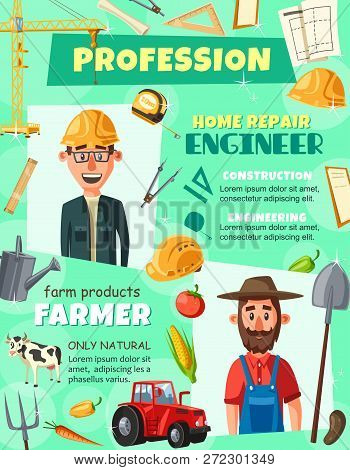Professions Engineer And Farmer Agronomist Poster. Construction Engineering And Agrarian Industry Wo