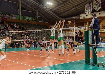 Odessa, Ukraine November 27, 2018: 2019 Cev Volleyball Cup - Women 16Th Finals Khimik Yuzhny (ukr) -