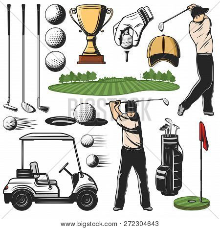 Items For Golf Sport Icons And Player With Stick, Play Course And Cart. Ball And Putter, Wedge And I
