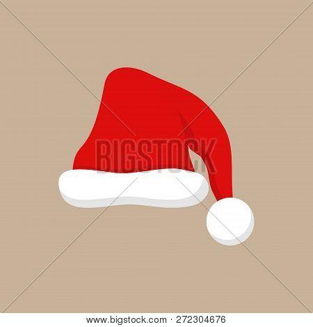 Christmas Santa Claus Hat Vector Illustration Icon. Festive, Seasonal, Holiday, Celebration, Party H
