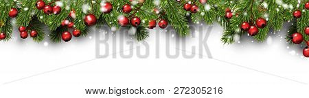 White Christmas And New Year Banner With Fir Branches, Holly Ber