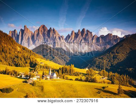 Captivating landscape in St. Magdalena village. Location place Val di Funes (Villnob), Dolomite alps, Trentino-Alto Adige, Italy, Europe. Famous travel resort. Discover the beauty of earth.