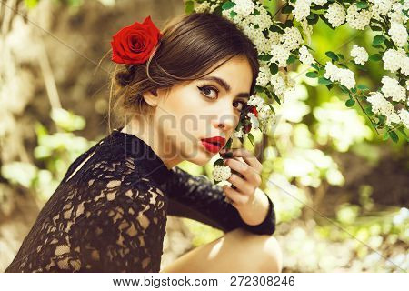 Cute Girl Or Pretty Woman With Red Lips, Stylish Makeup On Adorable, Young Face, Healthy Skin And Ro