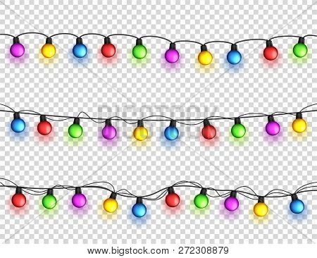 Christmas Glowing Lights. Garlands With Colored Bulbs. Xmas Holidays. Christmas Greeting Card Design