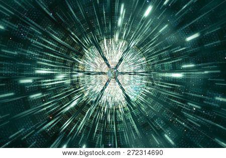 Abstract Modern Digital Round Sliced Shape Artwork In A Speeding Beams Of Light Background