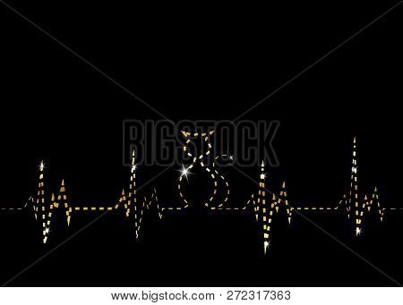 Olden Cat Silhouette In Audio Wave Or Sound Wave Design. Vector Linear Representation Of Gold Cat, B