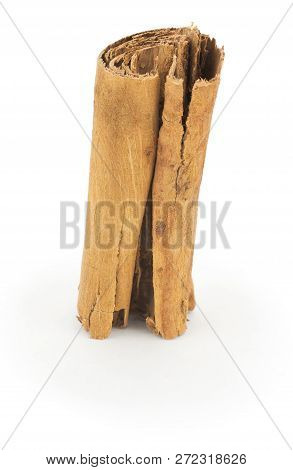Cinnamon Stick Close Up On White Background