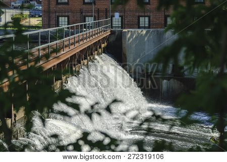 Charles River Cascading Downstream In Waltham, Massachusetts
