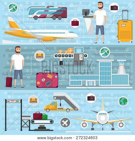 Passenger Airline Set In Flat Style. Civil Aviation Infrastructure Elements. Jet Plane, Conveyor Wit
