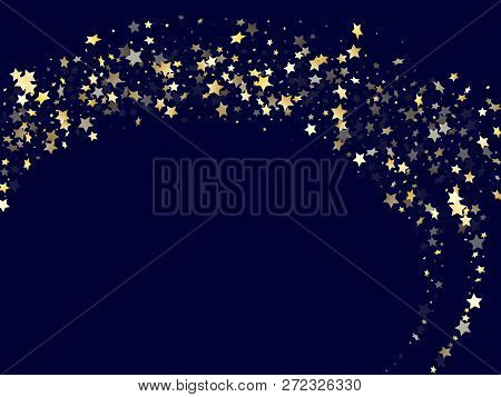 Gold Falling Star Sparkle Elements Of Glitter Gradient Vector Background. Twinkle Confetti Gold Star
