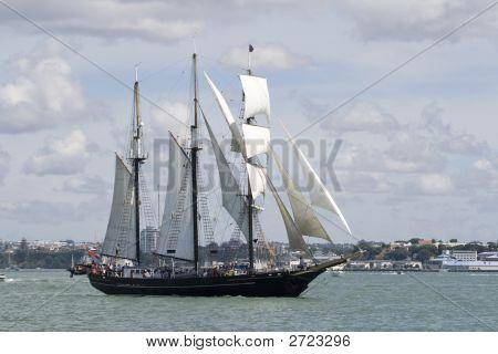 Tall Ship - A Black Brigantine Side On