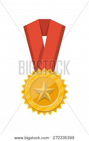 Winner golden medal with red ribbon isolated on white background. Champion achievement medallion, award ceremony label, victory prize sticker illustration. poster