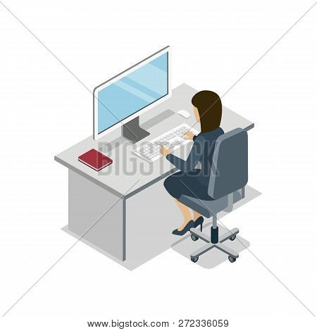 Woman Working At Computer Isometric 3d Icon. Busy Business People In Office, Company Professional Oc