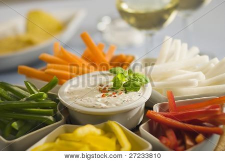 Assorted vegetable sticks and dip