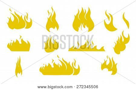 Vector Illustration Cartoon Silhouettes Fire. Vector Image Set Seamless Image Silhouettes Different