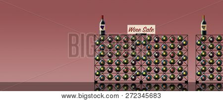 Wine Bottles Are Seen In A Wine Rack And A