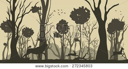 Illustration Cartoon Silhouette Deer And Hare. Vector Image Silhouette Forest Trees And Animal. Blac