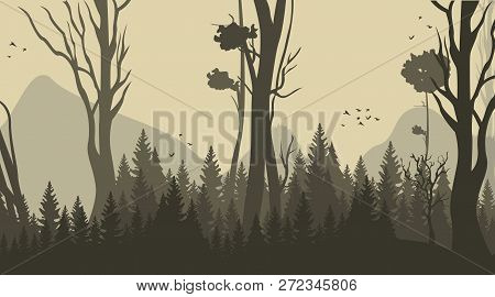 Vector Illustration Cartoon Forest Background. Panorama Silhouette Forest. Trees, Bushes, Grassland