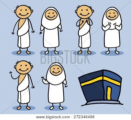 Cartoony Stickman Character Of  Hajj Pilgrimage In Stand Pose, Pray And Waving Hand Pose.
