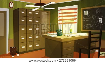 Private Detective Office Interior Cartoon Vector With Retro Telephone And Papers On Work Desk, Case