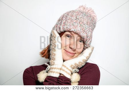 Isolated Portrait Beautiful Young Redhead Girl Green Eyes In Purple Sweater,  Pattern Mittens With F
