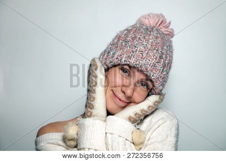 Isolated Portrait Beautiful Young Redhead Girl Green Eyes White Sweater, Pattern Mittens With Fur Po