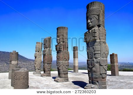 Famous Toltec Atlantes - columns on top Pyramid of Quetzalcoatl, Tula de Allende, Hidalgo state, Mexico. UNESCO world heritage site
