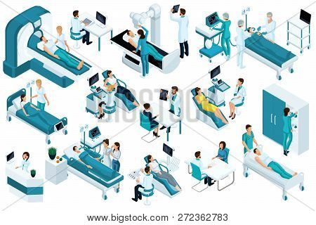 Set Isometric, Medical Workers And Patients, Hospital Bed, Mri, X-ray Scanner, Ultrasound Scanner, D