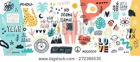 Collection Of Handwritten Slogans Or Phrases And Decorative Design Elements Hand Drawn In Trendy Doo