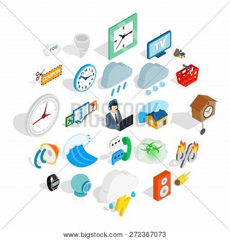 Temporary problem icons set. Isometric set of 25 temporary problem vector icons for web isolated on white background poster