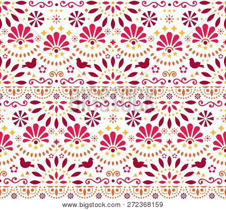 Mexican Traditional Folk Art Vector Seamless Geometric Pattern With Flowers And Birds, Orange And Re
