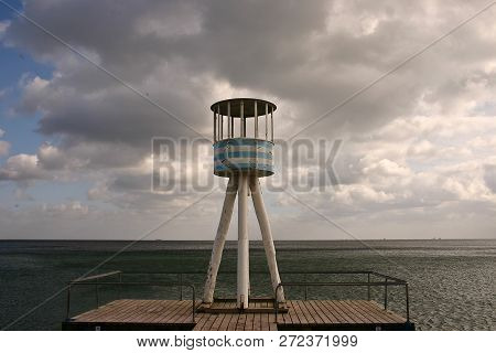Lifeguard Towers At A Beach In Denmark