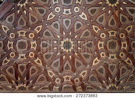Cairo, Egypt - December 2 2018: Closeup Of Arabesque Ornaments Of Old Aged Decorated Minbar Of Sulta