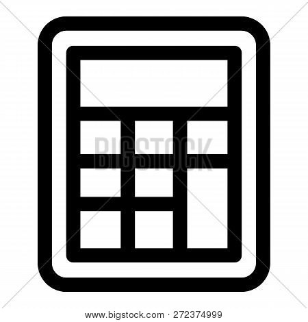 School Calculator Icon. Outline School Calculator Icon For Web Design Isolated On White Background