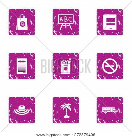 Collect The Journey Icons Set. Grunge Set Of 9 Collect The Journey Icons For Web Isolated On White B