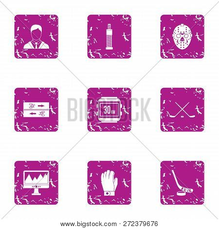 Sport Pulse Icons Set. Grunge Set Of 9 Sport Pulse Icons For Web Isolated On White Background