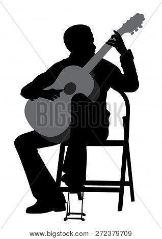 Young Man Acoustic Guitar Player. Classical Music.