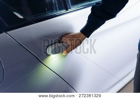 Car door handle hand Renault Hand Of Man Opens The Car Door Handle Business Class Auto Glow Diode Bigstock Hand Man Opens Car Image Photo free Trial Bigstock
